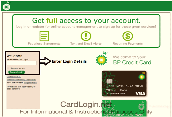 Accessing the MyBPCreditCard portal is easy after registering on it